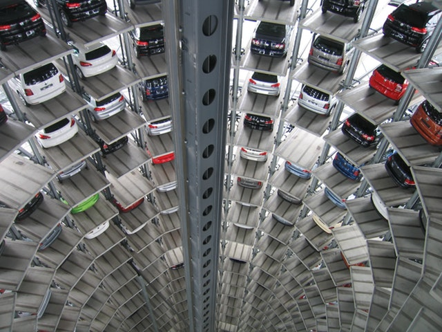 A robotic car park showing cars parked